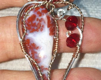 Beautiful Red and White Brenda Agate with Ruby Crystals, Wrapped in Silver, Hematite & Copper Wire