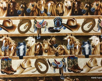 COWBOY Horse Fabric By the Yard / Half Yard Western Barn Gear Saddle Hat Rope Boots Shelf Horses Equine Cotton Quilting Apparel BTY t4/27