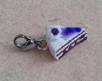 Blueberry Pie, Cake Piece Pendant, Charm, Chain Pendant, Miniature Food