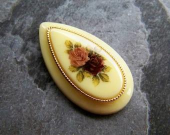 Vintage Floral Cabochon-Floral Cabochon-Lucite Cabochon-Frosted Cabochon-Vintage West German Floral Decal Lucite Cabochon-1 Piece