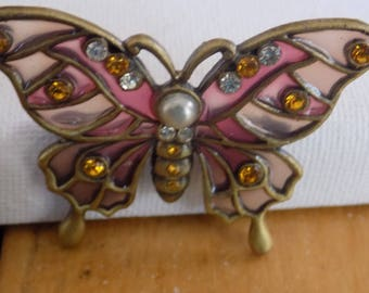 Vintage brooch, light and dark pink  plique-a-jour enamel and crystal butterfly brooch, figural insect brooch, vintage jewelry