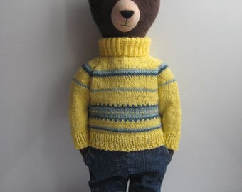 Robert the Bear.Eco Friendly Plush Toy. Primitive Interior Doll.