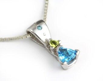 Elegant Blue Topaz Pendant, Trillion Gemstone Necklace, Modern Blue Green Jewelry