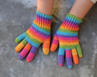 Womens rainbow gloves, medium thick wool, customized gloves, winter gloves, rainbow striped mittens for outdoor explorer