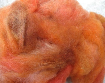 Pumpkin Pie - Carded Wool Blend, Opalescence - 4 oz BFL Wool, Teeswater cross, Mohair and firestar for hand spinning, felting, crafts