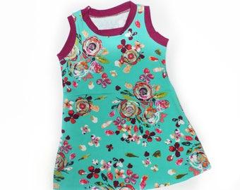 5T, Sprayed Blooms Tank Dress, Girls Knit Dress, Summer Dress, Play Dress