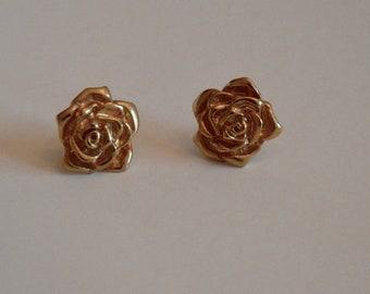 Gold Rose post earrings