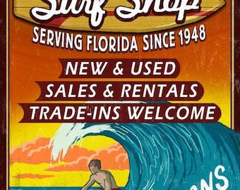 Key West, Florida - Surf Shop Vintage Sign - Lantern Press Artwork (Art Print - Multiple Sizes Available)