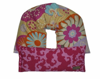 Therapeutic Neck & Shoulder Wrap - Eye Pillow Gift Set Hot Cold Therapy Pack Flaxseed UNSCENTED (Kimono) Hot Pink, Yellow, Aqua