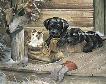 Dog Art Black Labs and Kitten Dog and Cat Art, Child's Room Print  #746