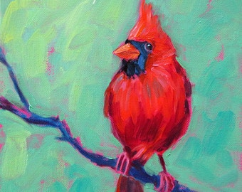Cardinal - Male Cardinal - Bird Art - Paper - Canvas - Wood Block