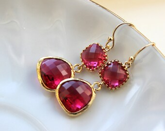Fuchsia Earrings Pink Gold - Bridesmaid Earrings - Bridal Earrings - Hot Pink Wedding Jewelry - Wedding Earrings - Gift under 35