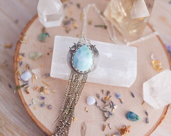 Sterling Silver Larimar Necklace - Boho Necklace - Moon Necklace - Gemstone Necklace - Larimar Pendant