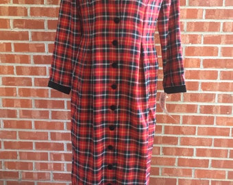 New with tag - vintage 1980s S.L. Fashions red and black plaid long dress. Size 12