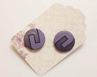 Purple Stud earrings, Retro Earrings, Button Jewelry, Gift Ideas Under 20