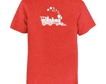 4th of July - July Fourth - Tshirt Kids Shirt - Red White Blue - Patriotic - USA - United States Train Stars Soft Youth Blend Tee Top