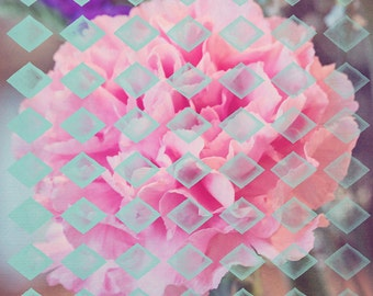 Geometric Flower - 10x10 photograph - Pastel colors - fine art print - geometric pattern - pink flower - floral art