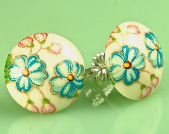 Vintage Glass Blue Flower Button Post Earrings