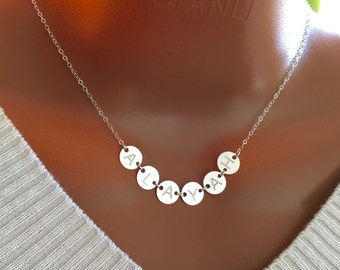 Personalized initial discs necklace, Sterling silver discs necklace, discs engraved necklace