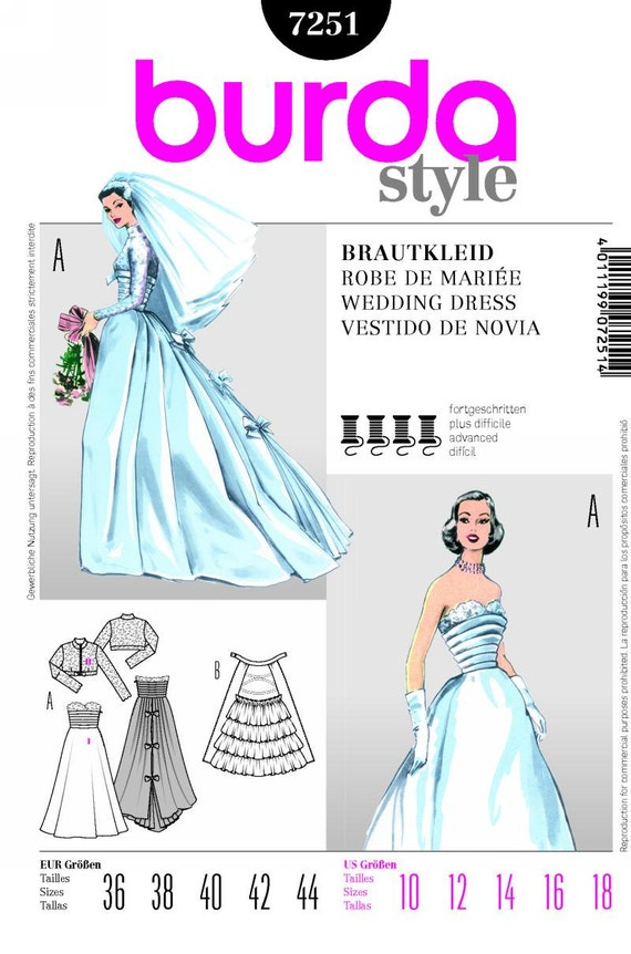 Sz 10/12/14/16/18 Burda Style Wedding Dress Pattern 7251
