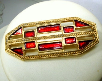 SALE, Art Deco style Brooch, Red Enamel On Gold Pin, 1980s, Stylized Classic , Unused