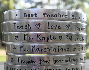 SALE, Teacher Bracelets, Hand Stamped Bracelet, Mantra Bracelet, Personalized Teacher Gift, Best Teacher Ever