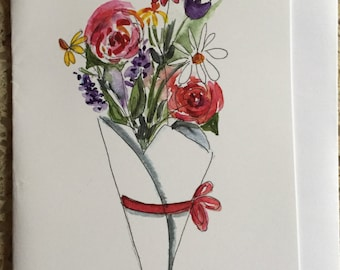 Spring Bouquet, Watercolor Note Card