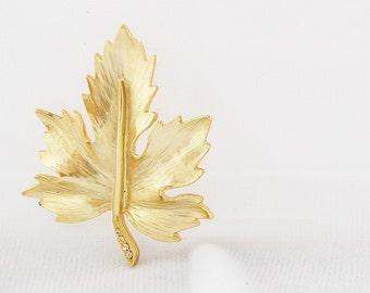 Vintage Gold Tone Leaf and Rhinestone Brooch