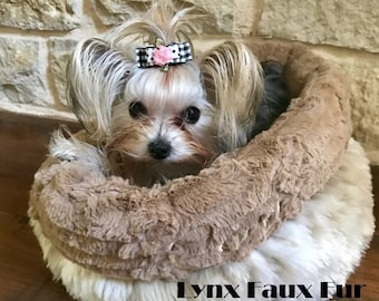 Cuddle Cup Dog Bed - Luxurious Faux Fur - Dog Beds - Cat Beds - Embroidery Included - Many Furs to Choose From
