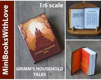 MINIATURE books, GRIMM'S Household Tales, readable 1:6 scale books, dollhouse miniature, suits Barbie, Blythe, other 1/6 scale dolls