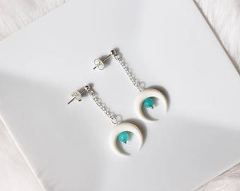 "Christmas gift woman - ""bullet"" Nokomis, bone white amazonite earrings"