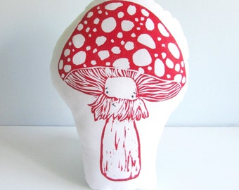 Toadstool Mushroom Shaped Throw Pillow. Hand Woodblock Printed. Choose ANY colors. Made to order- takes 1-2 weeks.