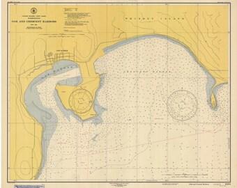 Oak and Crescent Harbors 1947  Nautical Map, Whidbey Island Washington Reprint PC Harbors Puget 6404