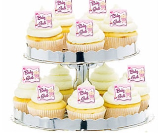 12pk Baby Girl Hungry Baby  Cupcake  Decoration Toppers Picks
