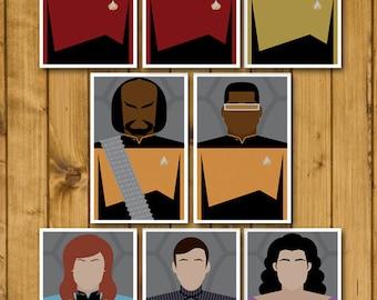 Minimal Star Trek: The Next Generation Character Postcards - Set of 8