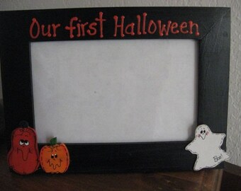 Happy Halloween - Our first Halloween- personalized Halloween photo picture frame