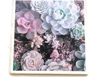 Succulent Tile Trivet Floral Kitchen Decor Cookware Heat Resistant Ceramic Tile Hot Plate Housewarming Gift Unique Gift Party Decor Flowers