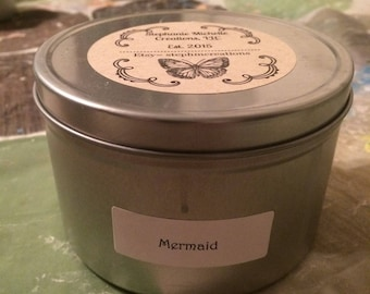 Mermaid 16 ounce Large Tin Soy Candle