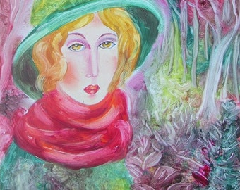 LADY IN GREEN -original oil painting