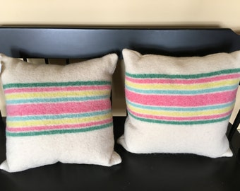 100% wool blanket pillows
