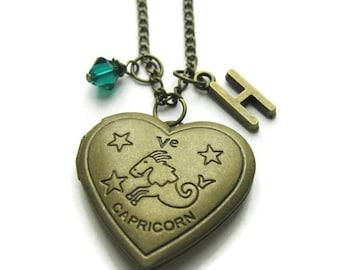 Capricorn Locket, Zodiac Locket, Capricorn Zodiac Locket, Capricorn Necklace, Zodiac Necklace, Birthstone Necklace, Personalized