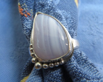 Blue Lace Agate Free Form in Granulated Sterling Ring Size 8