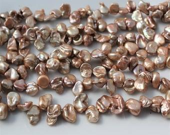 Nude Keshi Pearls, Peach Keshi Pearls, Beige Petal Pearls Top Drilled Keshi, Pink Pearls Cornflake Pearl Rose Gold 8-11mm Full Strand KP318