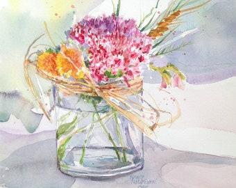 Spring Bouquet Original Watercolor