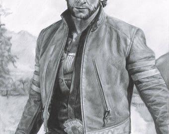 """Drawing Print of Hugh Jackman as Logan / The Wolverine in """"X-Men Origins: Wolverine"""""""