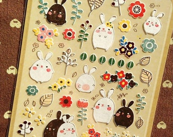 Rabbit Sticker, Cute Sticker, Deco Sticker, Scrapbooking