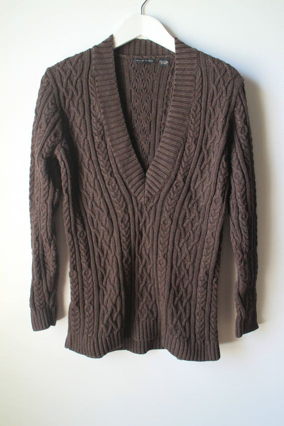 Ecru Fishermen's Chunky Cable Knit Cotton Pullover Sweater Women's L Men's S ThQVR5Cdx
