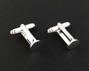 2pcs / 10pcs Wholesale Cufflink Blanks - Silver Cuff Link Base 8mm Glue Pad - Silver Plated DIY Cufflink Flat Pad Men Jewelry Supply