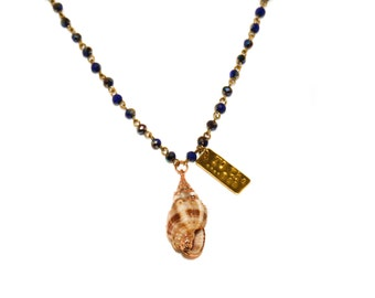 Beyond The Sea - gold dipped natural shell, hand stamped tag, delicate titanium indigo blue rosary chain necklace