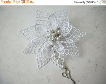 ON SALE Vintage Over Sized German Fabric Faux Pearl Beads With Scissors Pin 81716
